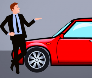 Cartoon car salesman.