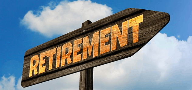Sign pointing to early retirement.