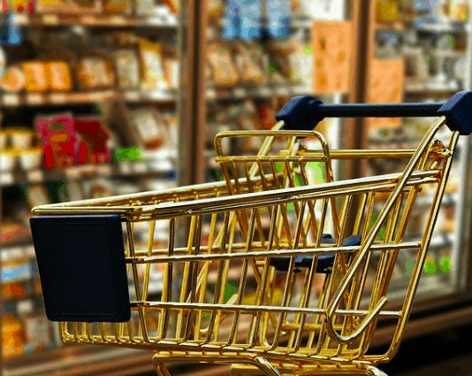 Shopping cart for food.