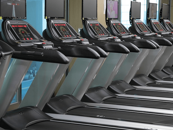 Treadmills in a row.