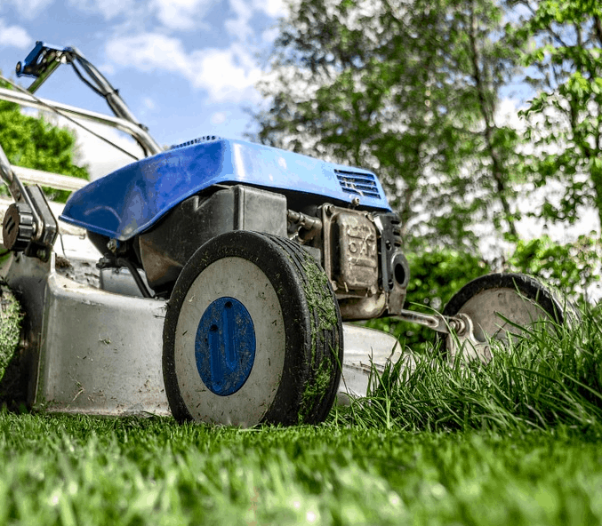 A mower used to cut a lawn.