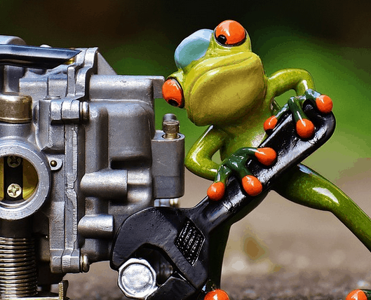 A mechanic frog at work.