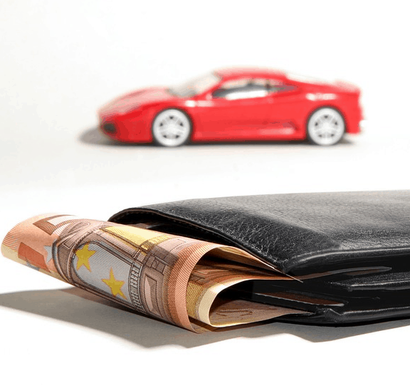 Money in a wallet saved on car costs.