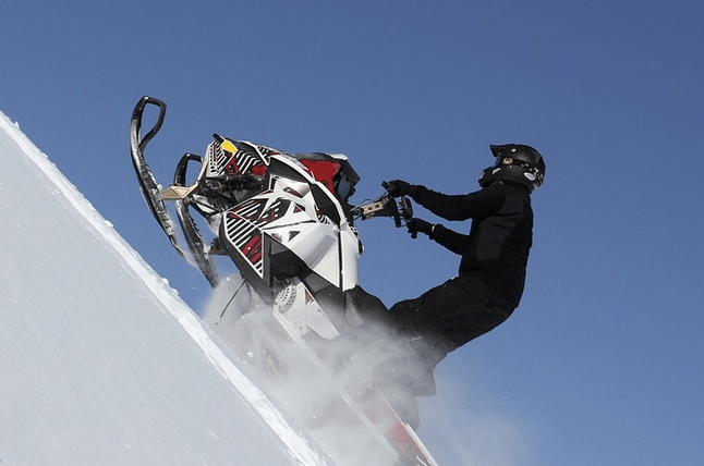 A snowmobile purchased with a bad credit loan.