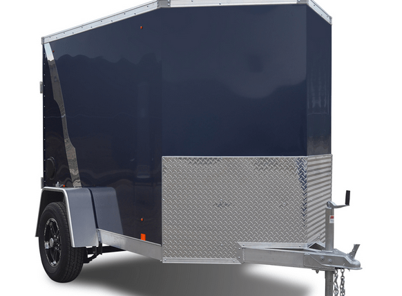 a black enclosed cargo trailer.