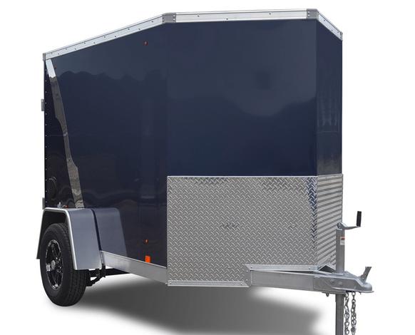 a black enclosed cargo trailer.