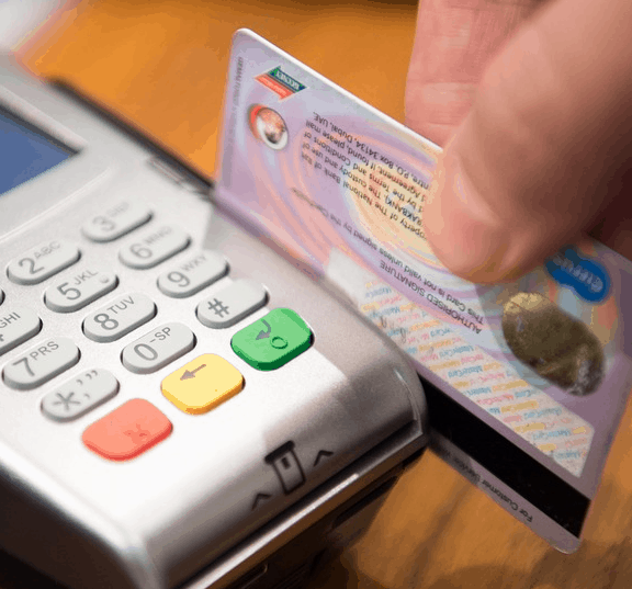 A credit card being run.