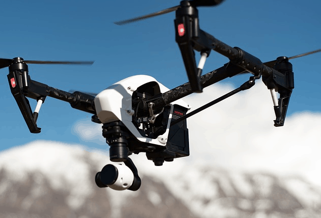 A drone flying.
