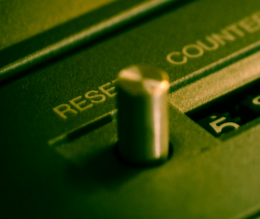 A reset switch on a device