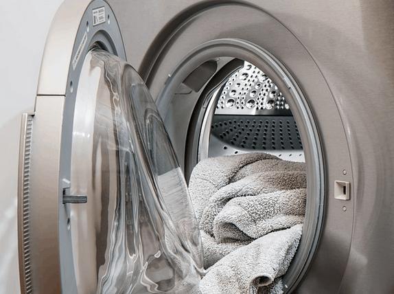 Towels in a washing machine.