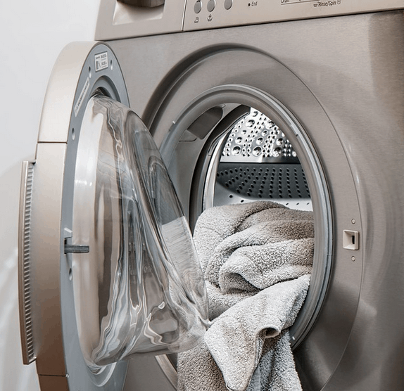 Towels in a washing machine.