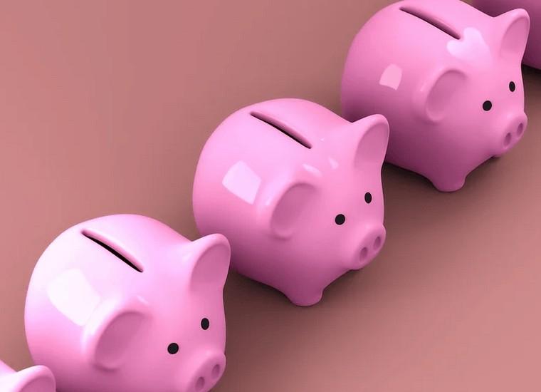 Piggy banks used for saving.