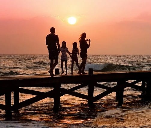 A family that save money on spring break.