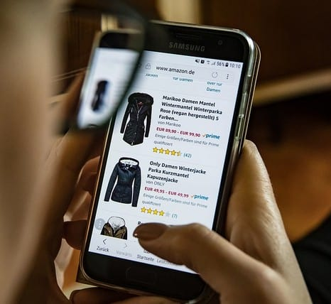 A person shopping online.