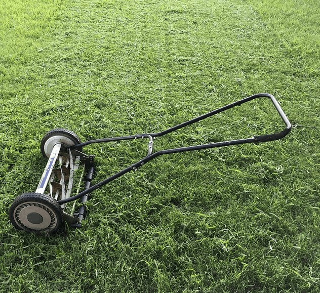 Lawn care equipment not in use.