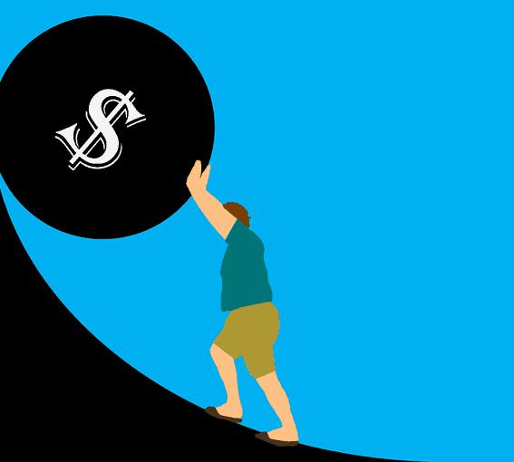 Pushing a debt ball up a hill.