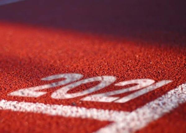 2021 writen on a running track