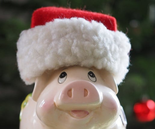 Piggy bank wearing a christmas hat.